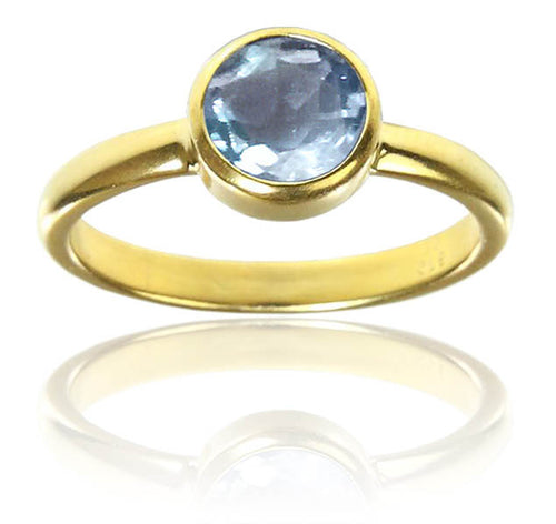 18K Gold Plated Stackable Jaipuri Circle Ring Blue Topaz