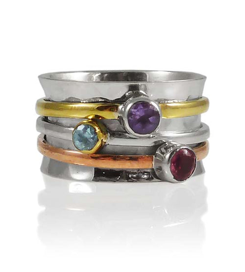 Tel Aviv Three Stone Spinner Ring Tourmaline, Amethyst, Blue Topaz