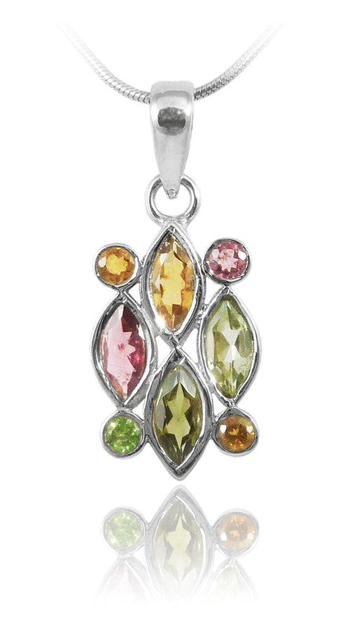 8 Stone Cluster Pendant Mixed Tourmaline