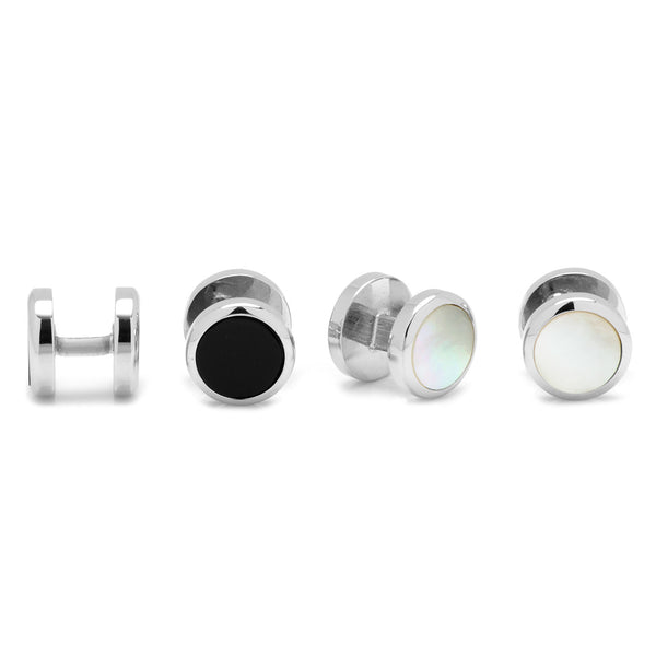 Double Sided Onyx and Mother of Pearl Round Beveled Stud Set