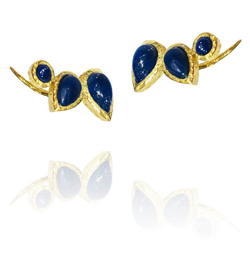Peacock Climbing Earrings Lapis Lazuli