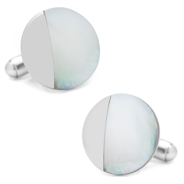 Stainless Steel Modern Round Mother of Pearl Cufflinks