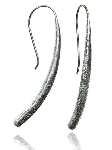 Curved Brushed Mantra Earrings