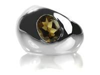 Gaudi Dome Ring with Faceted Stone Smokey Quartz