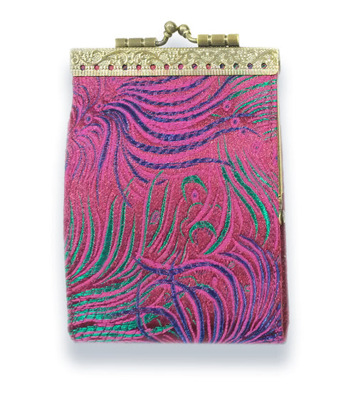 Card Holder Purple, Green and Blue Peacock
