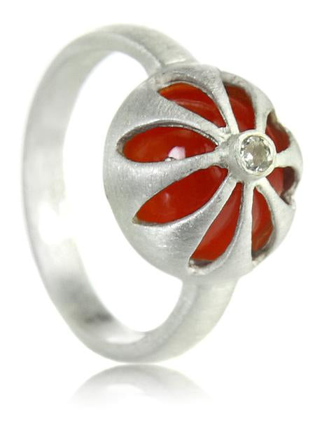 Arabesque Flower Cut Out Ring Carnelian