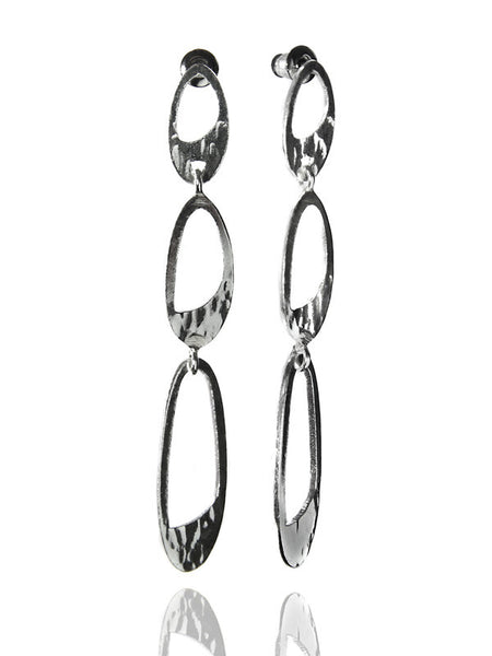 Oval Hammered Three Link Earrings