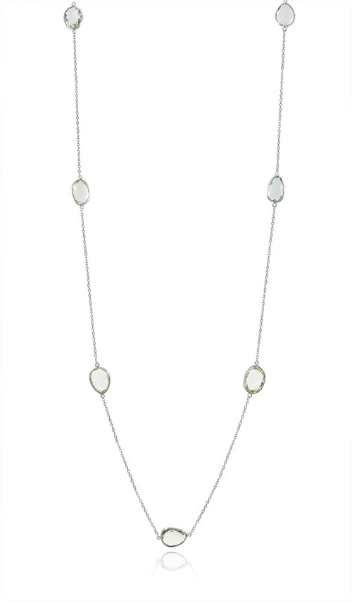 Long Seven Stone River Rock Necklace Green Amethyst