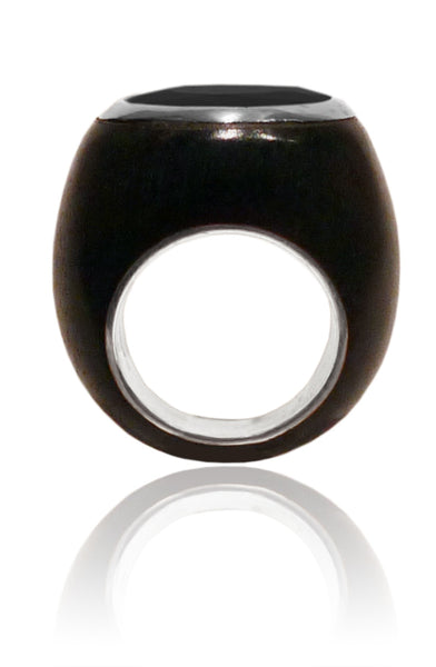 Mexican Art Deco Ebony Cocktail Ring Black Onyx 6