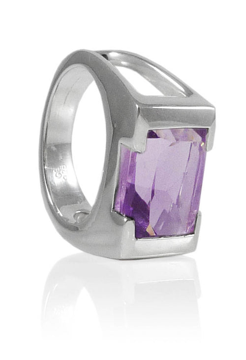 Framed Rectangle Ring Amethyst Size 8