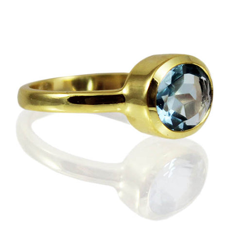 Gold Plated Oval Stackable Jaipuri Circle Ring Blue Topaz