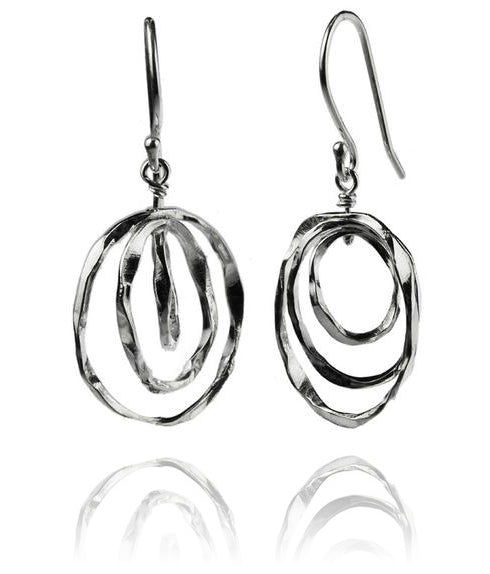 Thin Battered Concentric Earrings