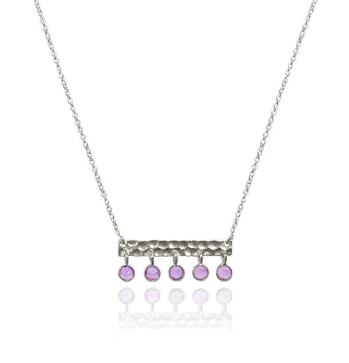 5 Stone Bavaria Bar Necklace Amethyst