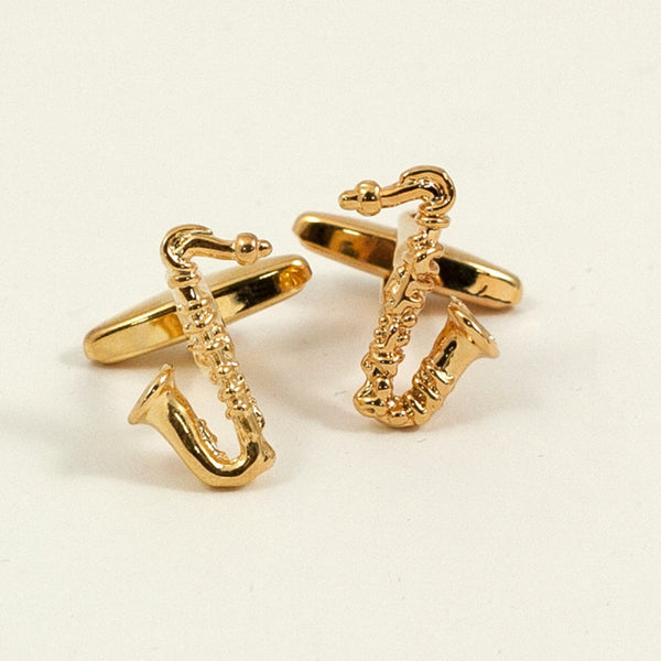 Golden Saxophone Cufflinks