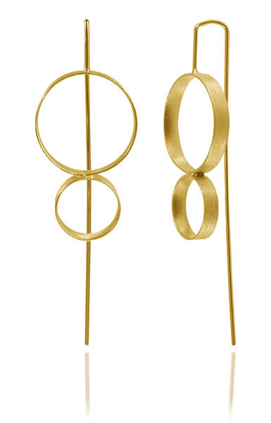 Gold Plated Brushed Double Circle Pin Earrings