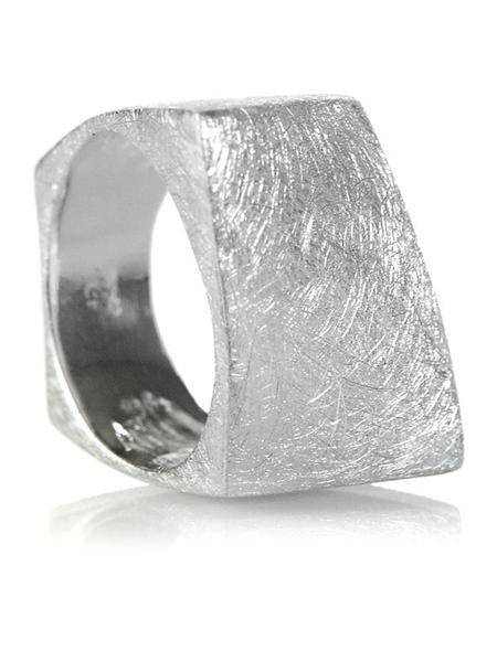 Brushed Bilbao Angular Rectangular Ring