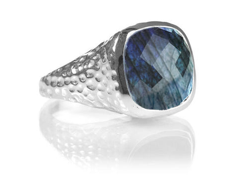 Gaudi Pointalism Square Cocktail Ring Labradorite