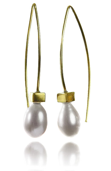 18K Gold Plated Euro Pin Drop Pearl Earrings White Pearl