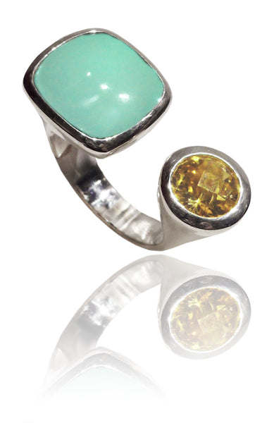 Mexico City Art Deco Ring Aqua Chalcedony and Citrine