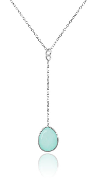 River Rock Y Necklace Aqua Chalcedony