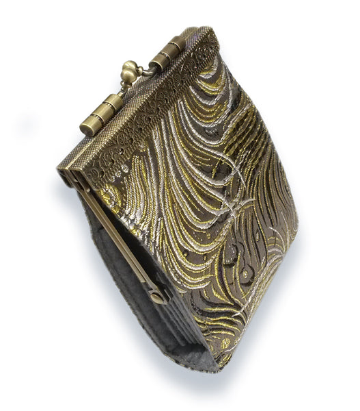 Card Holder Grey, Black and Gold Peacock