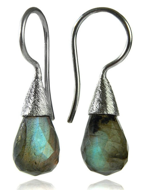 Small Quartz with Brushed Top Earrings Labradorite