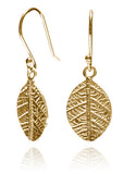 Gold Plated Leaf Dangle Earrings