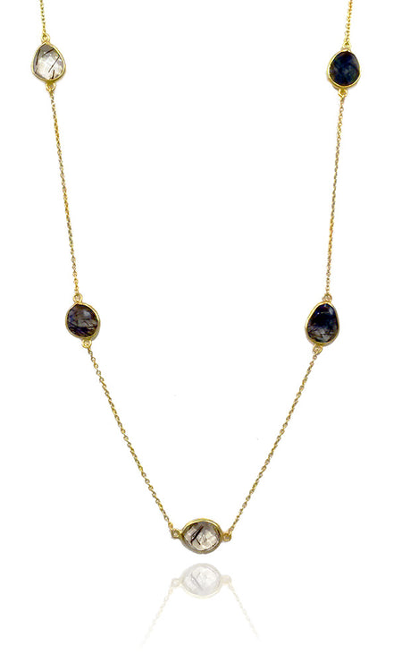 Jaipuri Quartz Drop Pendant with Chain Black Onyx