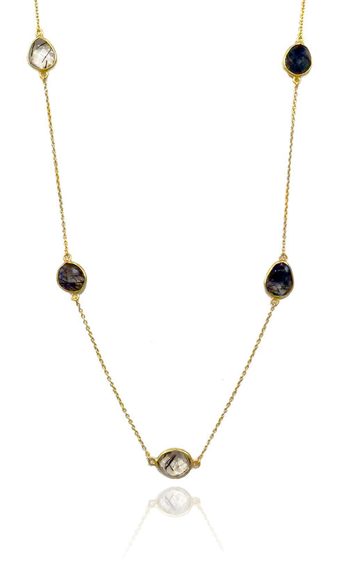 9 Stone Italian Necklace Black Rutile Quartz