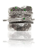 Lucky 7 Israeli Stacked Bands Green Onyx
