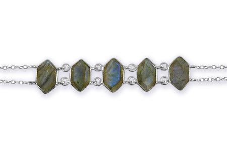Double Lined Peacock Cuff Labradorite