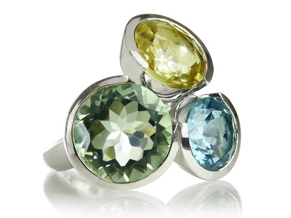 Three Circle Cluster Cocktail Ring Lemon Topaz/Green Amethyst/Blue Topaz 7