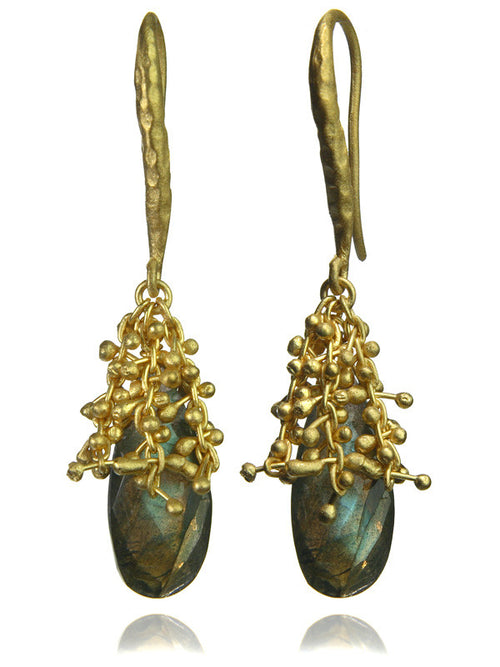 18K Vermeil Oblong Burst Earrings Labradorite