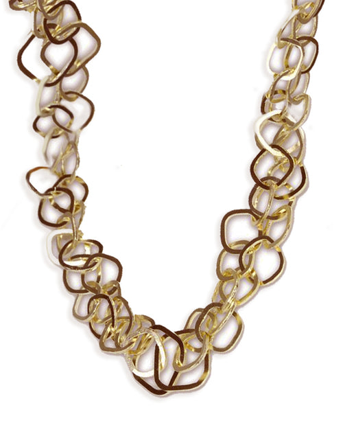 18K Vermeil Latin Double Interlocking Square Linked Necklace