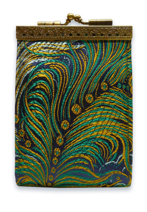 Card Holder Navy and Gold Peacock