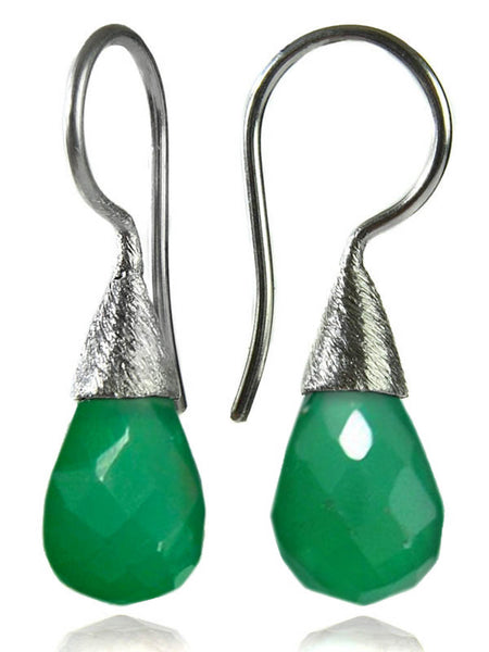Small Quartz with Brushed Top Earrings Green Onyx