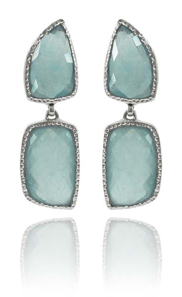 Chunky Silver Elegante Earrings Aquamarine