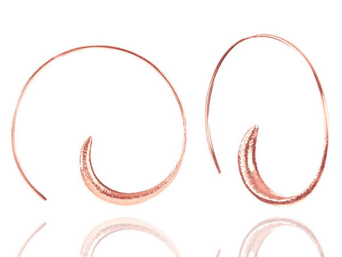 Brushed Rose Gold Plated Swirly Earrings