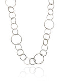 Small - Large Circle Silver Linked Necklace 24
