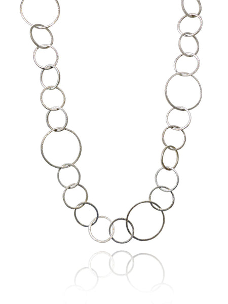 Small - Large Circle Silver Linked Necklace 24""