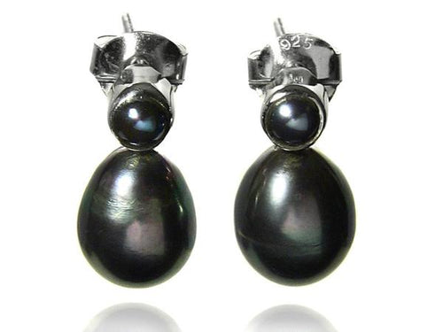 Double Pearl Drop Studs Grey Pearl