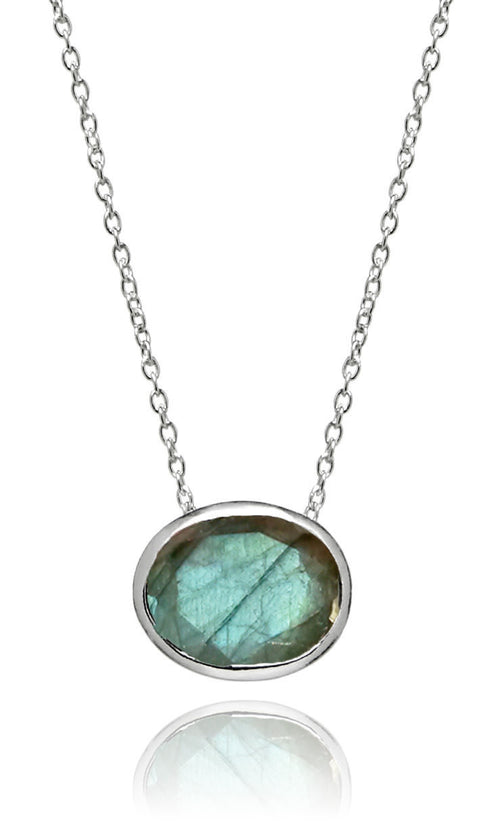 Floating Oval Pietra Necklace Labradorite