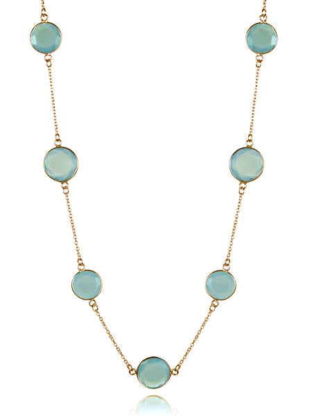 18K Gold Plated Faceted 17 Stone Capri Long Necklace Aqua Chalcedony