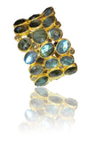Mosaic Jaipur Cobblestone Cuff Labradorite, Rough Cut Diamond