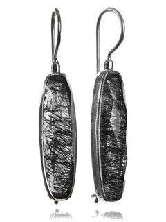 Mini Faceted Vertical Drop Earrings Black Rutile Quartz