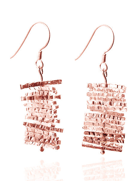 Rose Gold Plated Nirvana Turning Twig Earrings