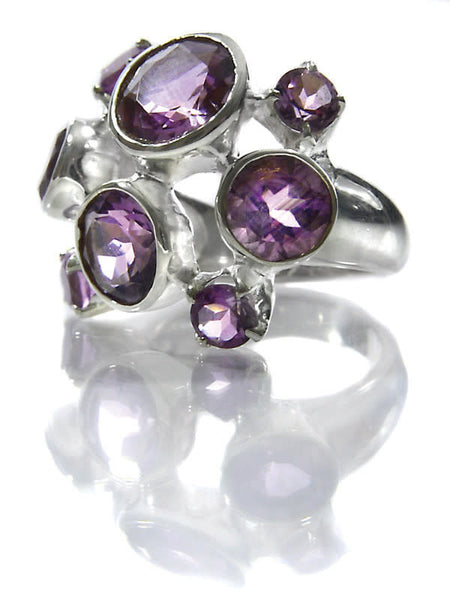 Eight Stone Free Style Bubble Ring Amethyst
