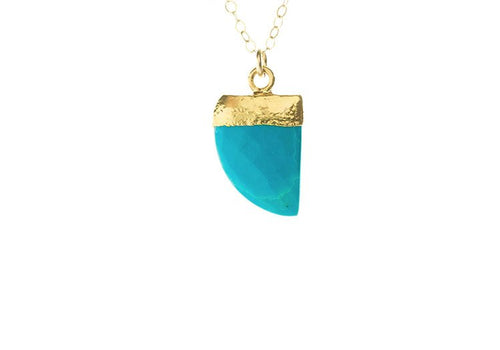 Tiny gemstone horn necklace in turquoise  Pendant w/ 24kt gold bezel 14kt gold filled chain and clasp 17 inches long