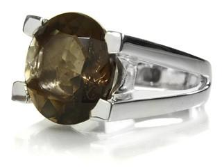 Da Vinci Four Prong Capri Cocktail Ring Smokey Quartz