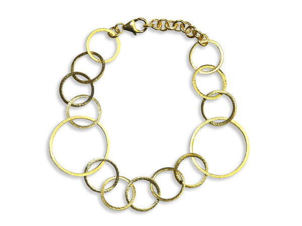 18K Gold Plated Small-Large Circle Linked Bracelet